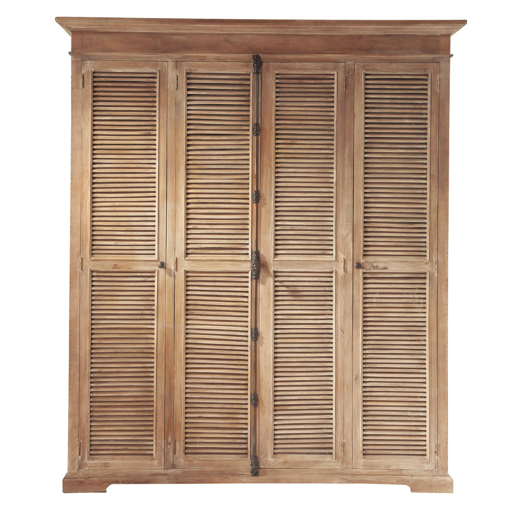 kleiderschrank aus mangoholz b 190 cm persiennes. Black Bedroom Furniture Sets. Home Design Ideas