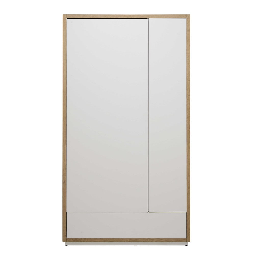Kleiderschrank Aus Massiver Eiche, B110 Cm, Weiß Austral