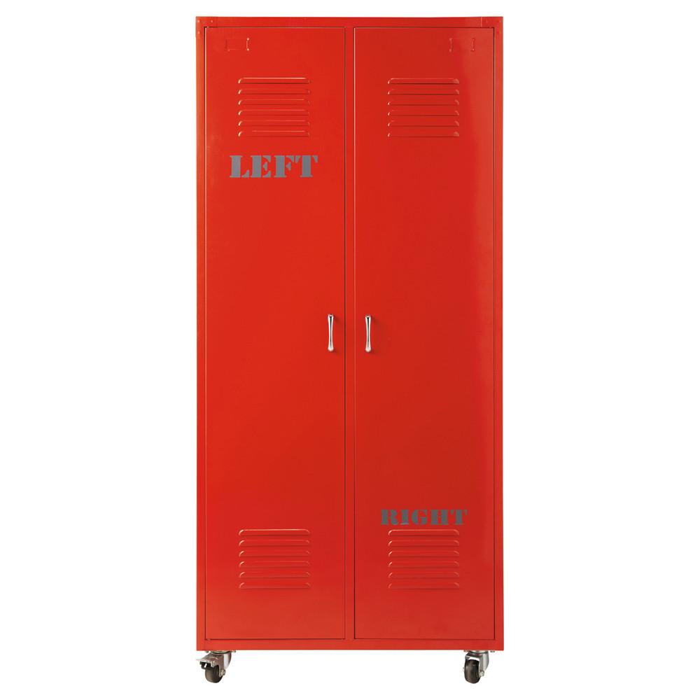 kleiderschrank im industrial stil aus metall b 85 cm rot. Black Bedroom Furniture Sets. Home Design Ideas