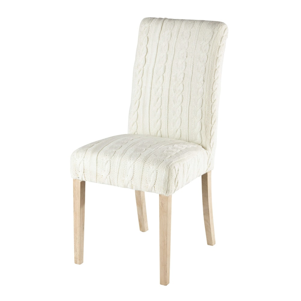 Knitted chair cover in white margaux maisons du monde - Housse de chaise ...