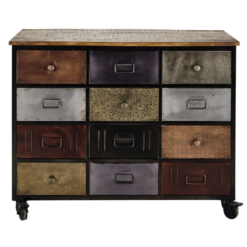 kommode aus metall auf rollen b 109 cm schwarz impala maisons du monde. Black Bedroom Furniture Sets. Home Design Ideas