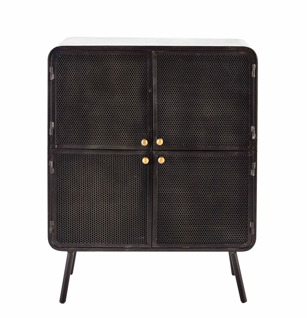 kommode aus metall b 80 cm schwarz knokke maisons du monde. Black Bedroom Furniture Sets. Home Design Ideas