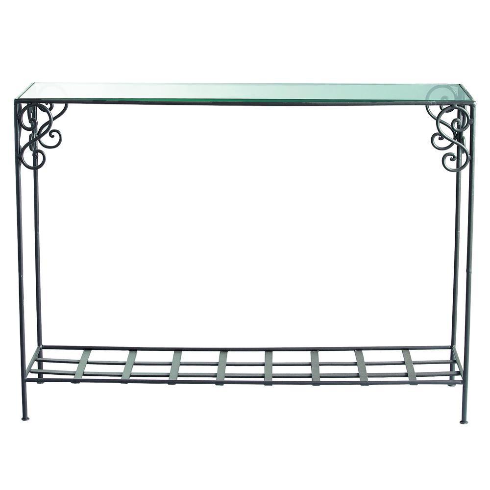 konsolentisch aus schmiedeeisen und glas b 110 cm braun. Black Bedroom Furniture Sets. Home Design Ideas