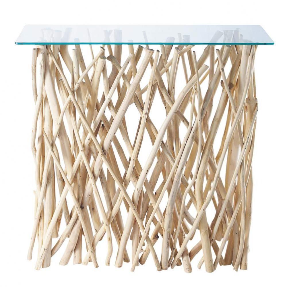 konsolentisch aus teakholz und glas b 100 cm ge rivage maisons du monde. Black Bedroom Furniture Sets. Home Design Ideas