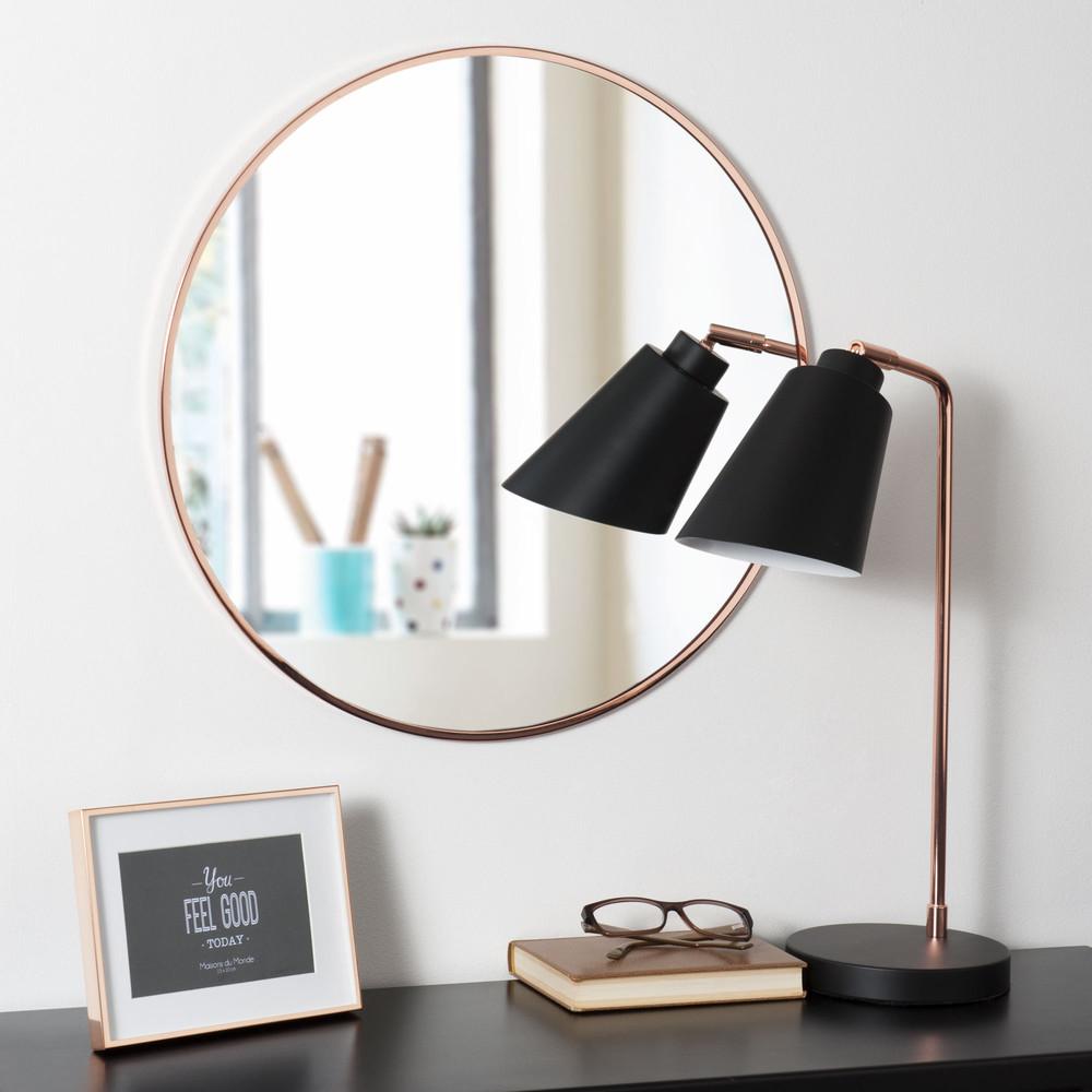 Koperkleurige metalen ronde grazzia spiegel d 50 cm maisons du monde - Metalen spiegel ...