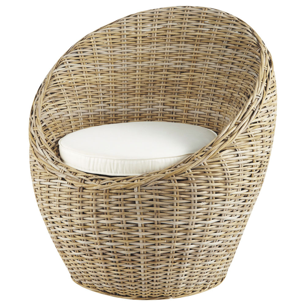 Kubu rattan wicker armchair cocoon maisons du monde for Maison de monde uk