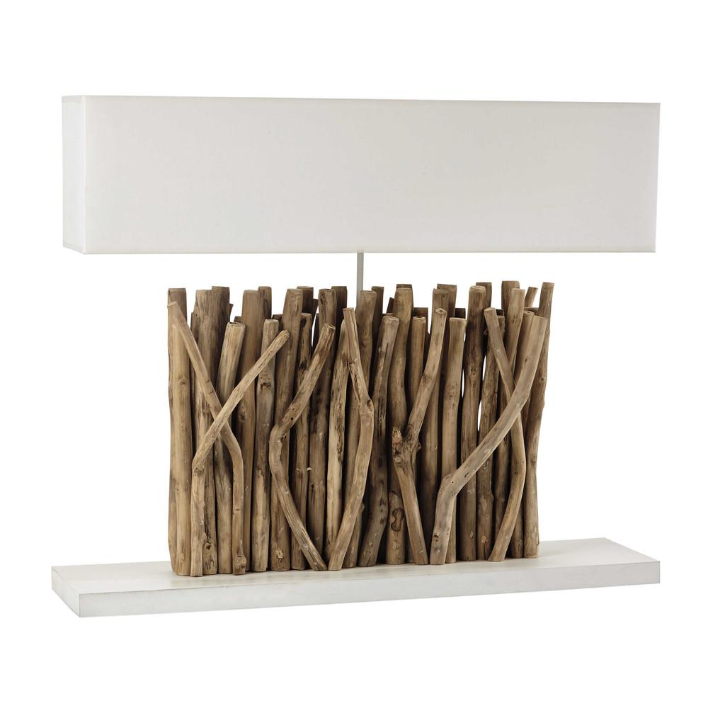 Lamp houten voet en ecru katoenen kap hoogte 67 cm pattaya maisons du monde - Houten drie voet lamp ...