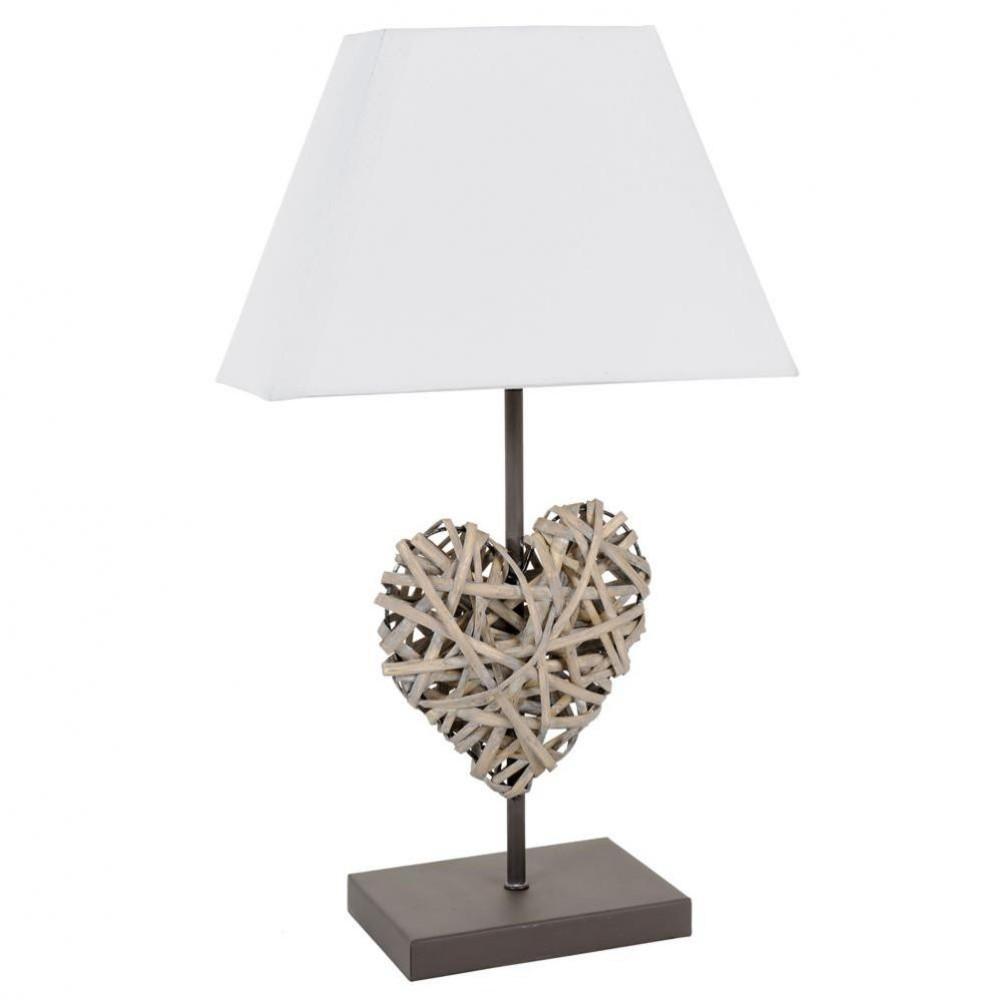 Home u203a decoratie u203a Bedlampen u203a Lamp voor nachtkastje Hart Rotan