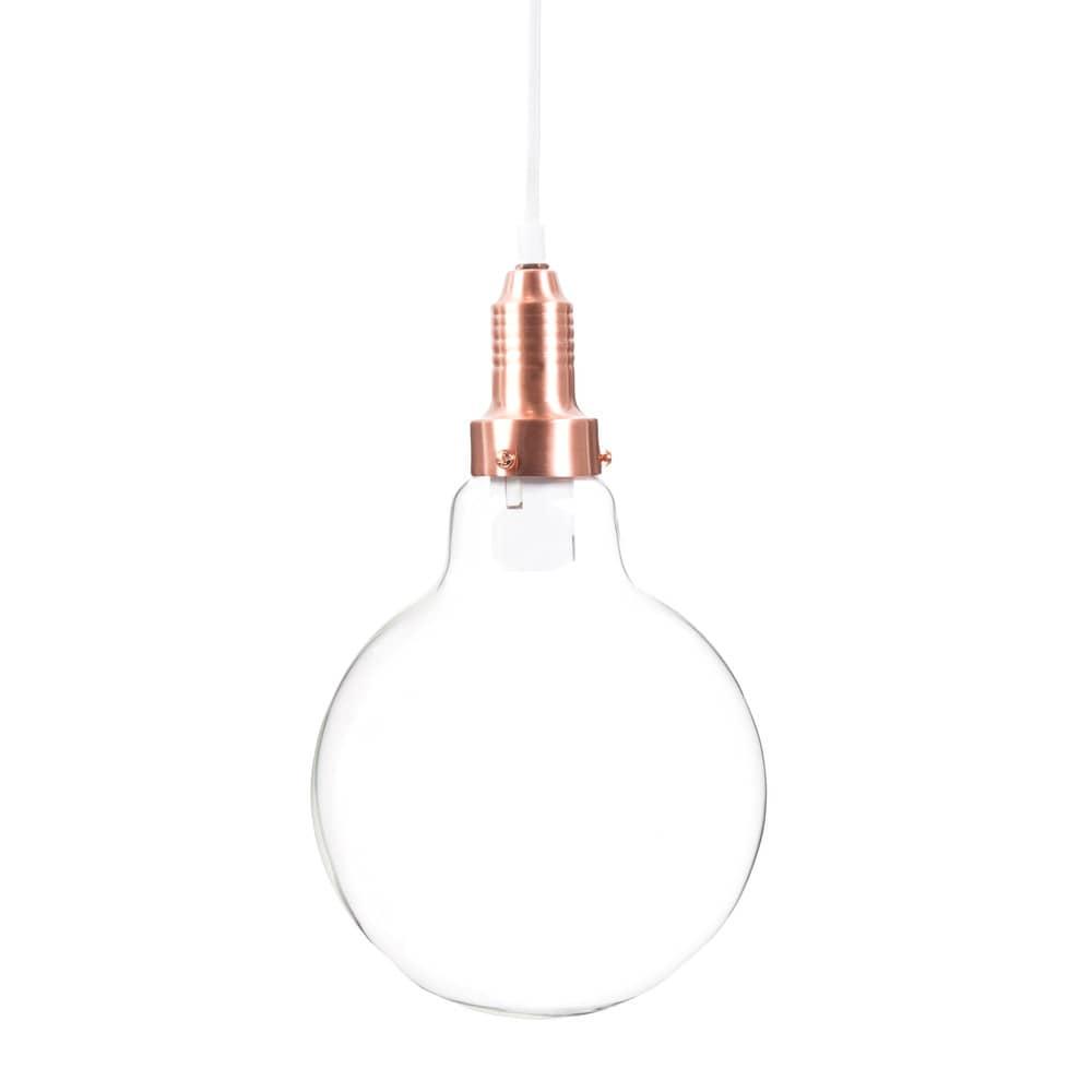 lampada a sospensione a forma di lampadina in vetro e