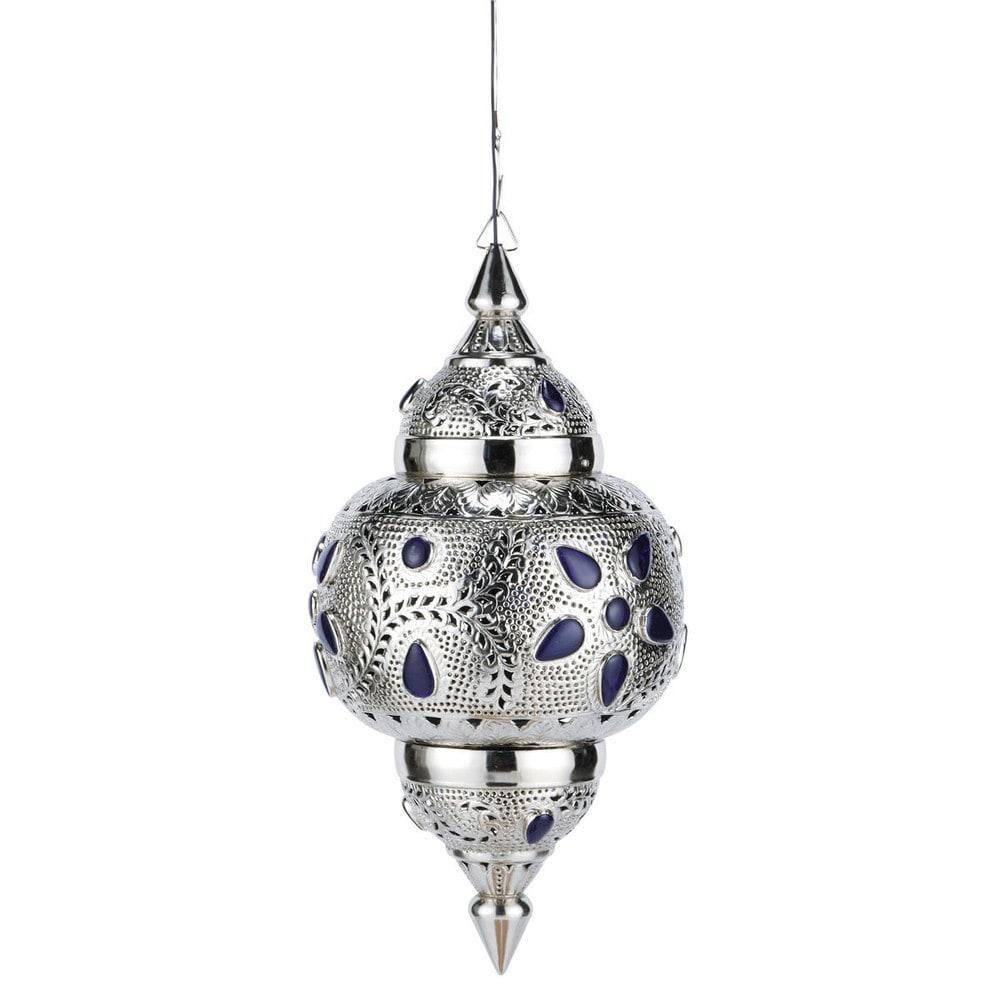 Lampada a sospensione blu in metallo cesellato e vetro d - Accessoire salle de bain orientale ...