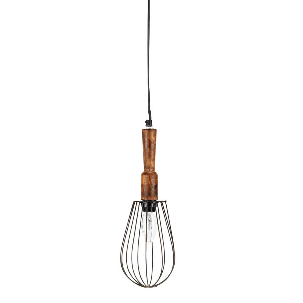 Lampada a sospensione in legno e metallo a forma di for Lampada piantana maison du monde