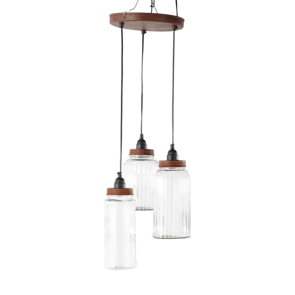 Lampada Sospensione Vetro Metallo Alien : Lampada a sospensione in metallo e vetro con barattoli d