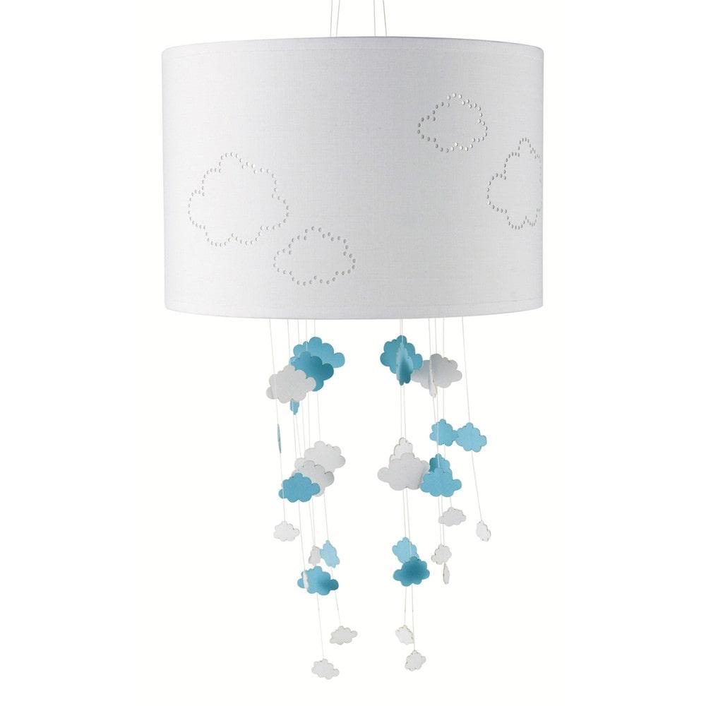 Lampada a sospensione non elettrificata bianca blu in tessuto d 30 cm nuages maisons du monde for Lampadari la maison du monde