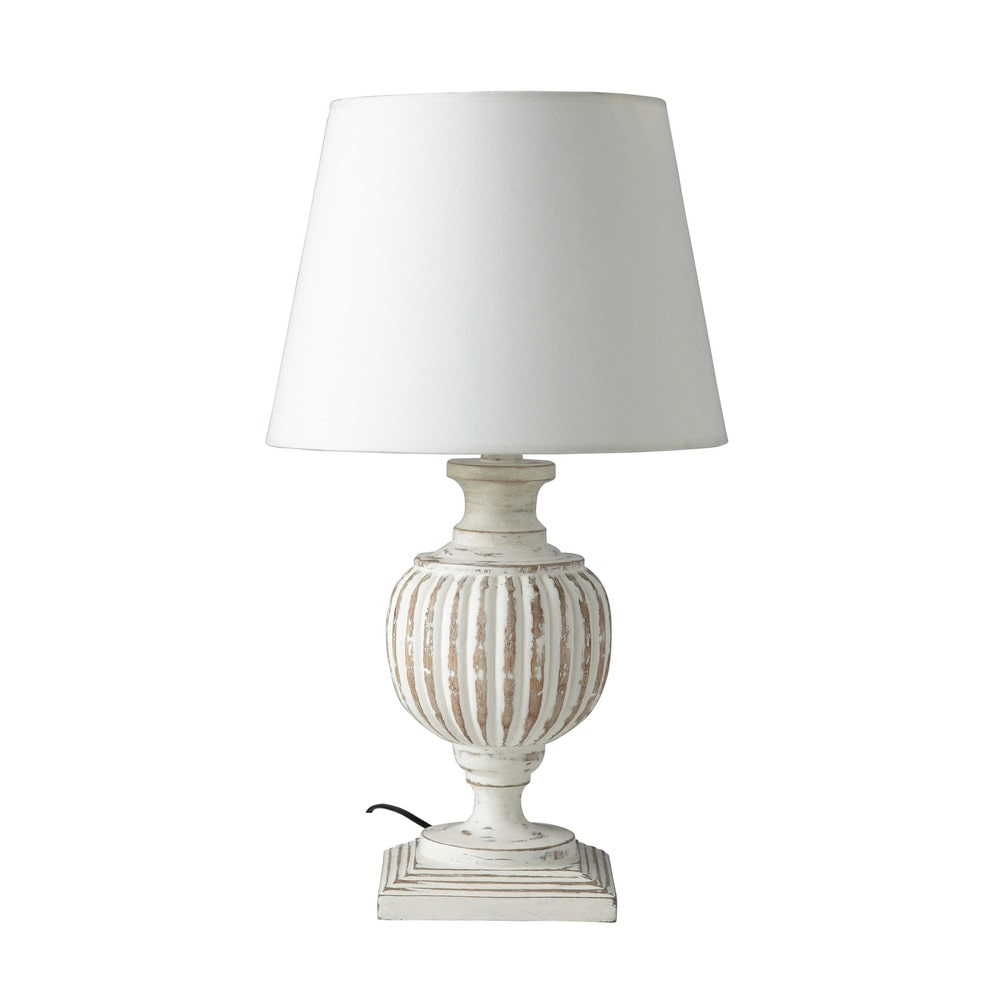 Lampada bianca in mango e abat-jour in cotone H 62 cm BEAUMONT ...