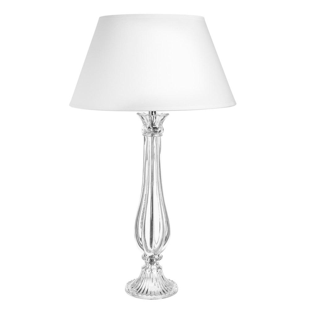 Lampada bianca in vetro e abat-jour in cotone H 68 cm ELISE ...