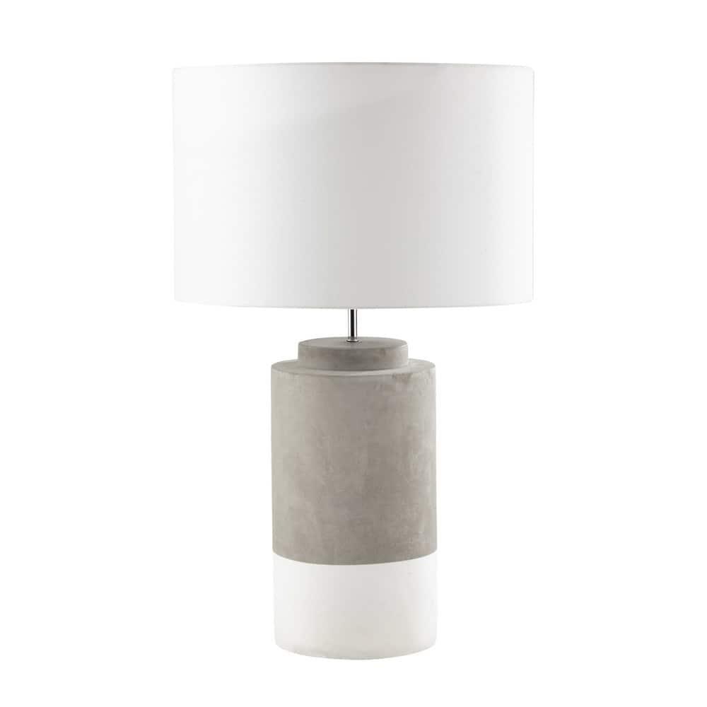Lampada in cemento e abat-jour in tessuto bianco H 71 cm SILLAGE ...