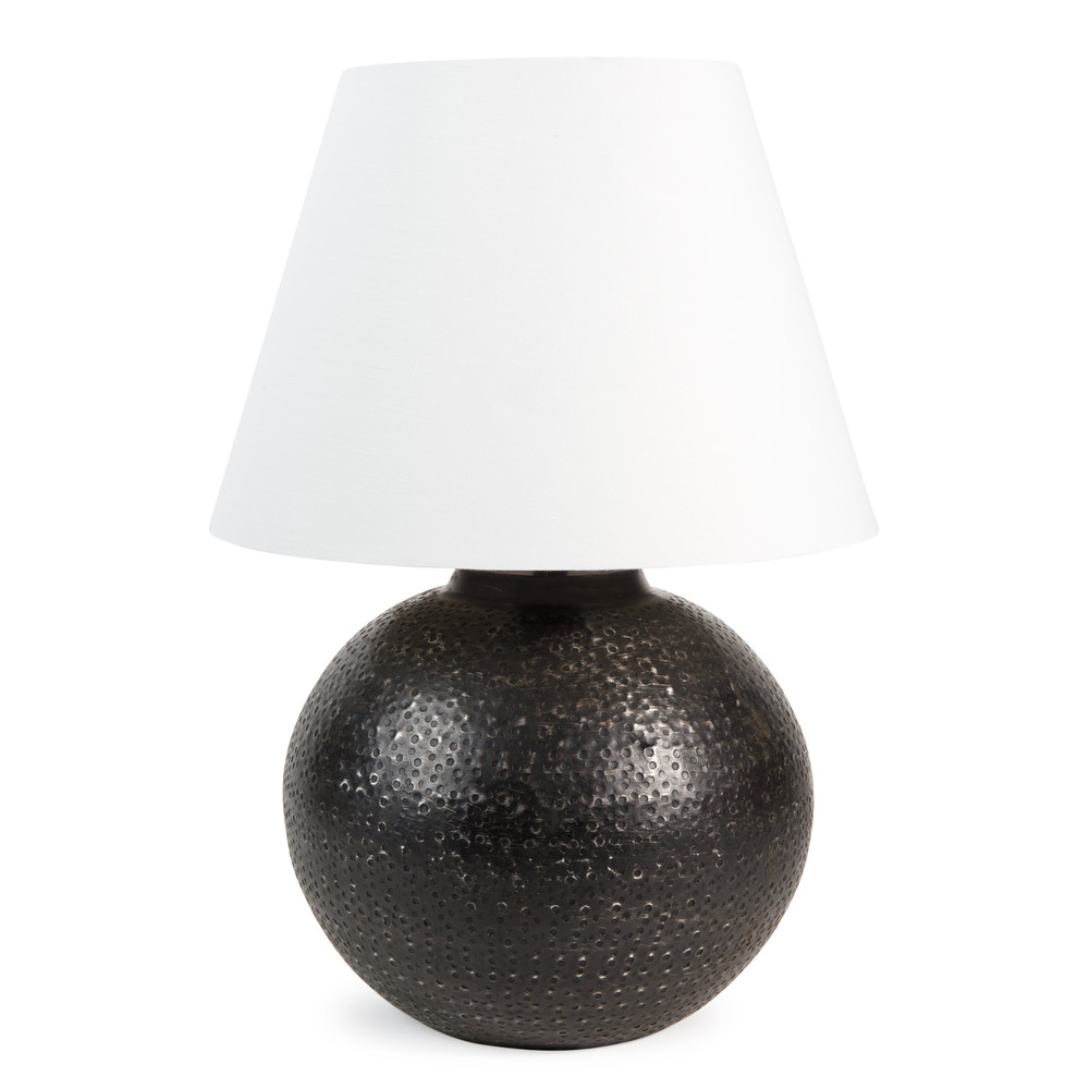 abat jour sospese : Lampada in metallo e abat-jour in tessuto bianco H 43 cm INDRA ...
