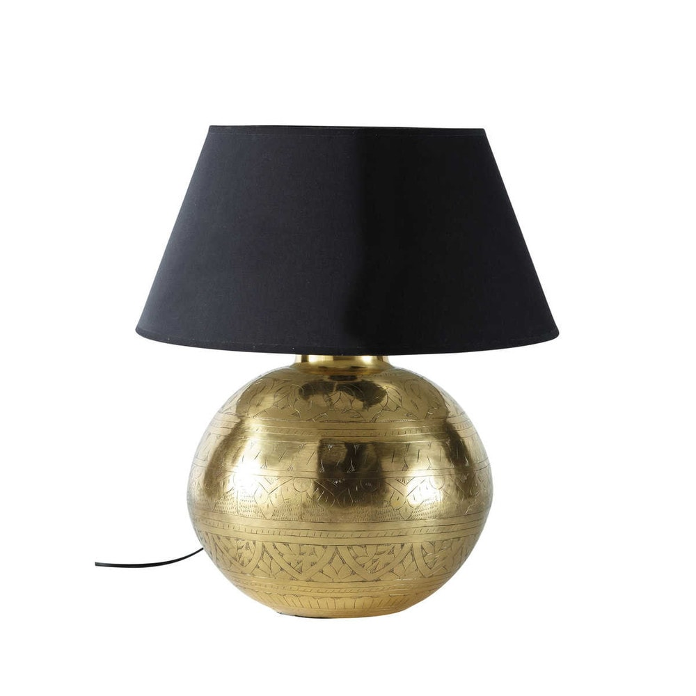 Lampada in metallo effetto dorato e abat-jour in tessuto H 49 cm ...