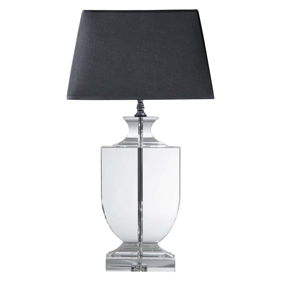 Lampada nera in cristallo e abat jour in cotone h 65 cm for Lampada piantana maison du monde