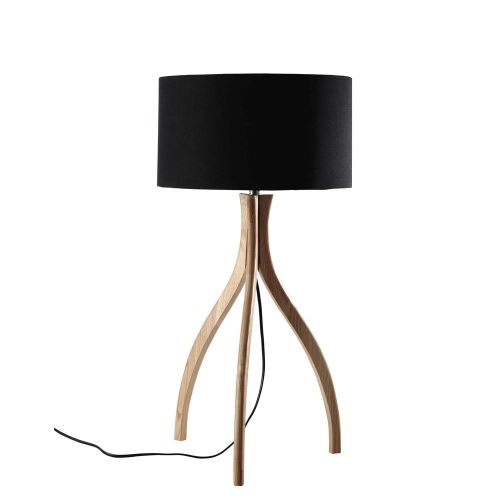 lampada nera su treppiede in legno e abat jour in cotone h 70 cm sven maisons du monde. Black Bedroom Furniture Sets. Home Design Ideas