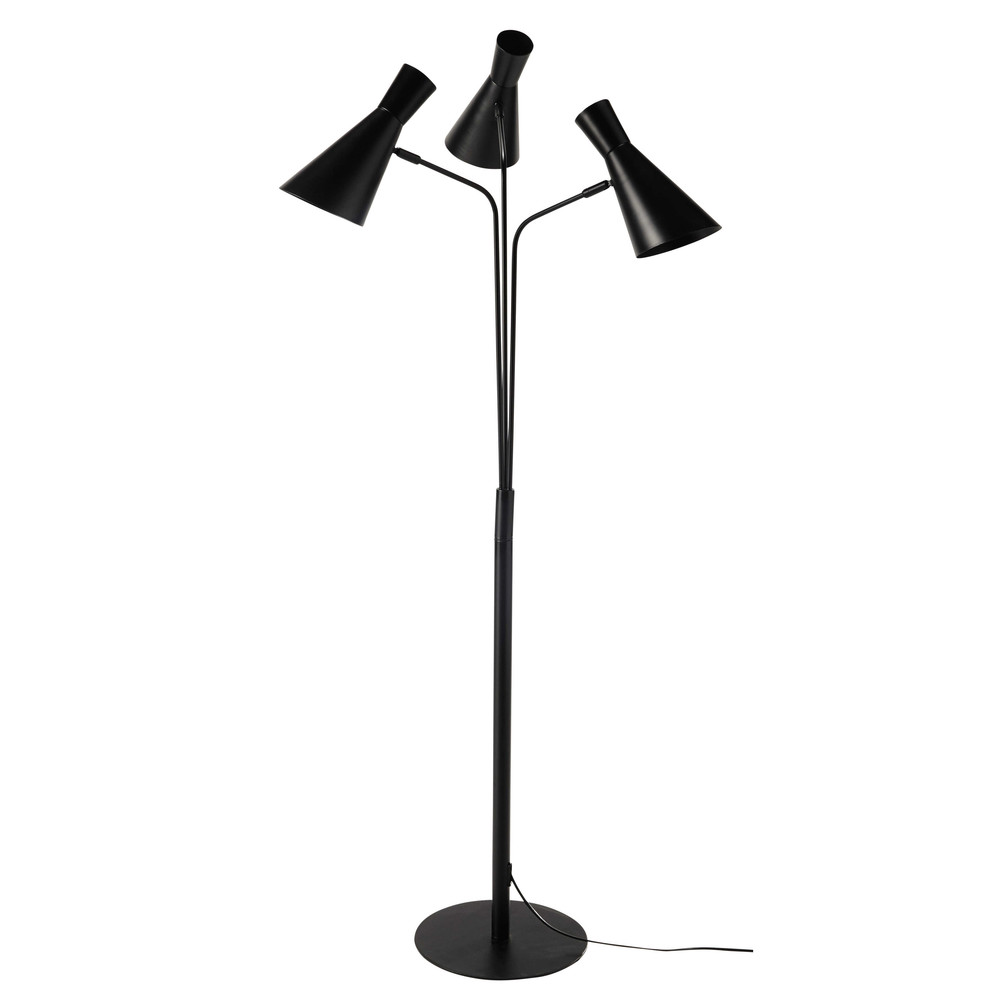 lampadaire 3 spots en m tal noir h 156 cm harris maisons. Black Bedroom Furniture Sets. Home Design Ideas