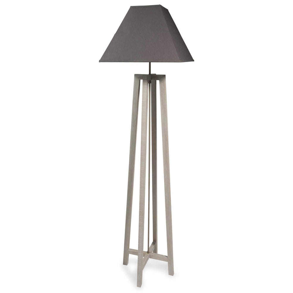 lampadaire en bois avec abat jour gris h 155 cm square maisons du monde. Black Bedroom Furniture Sets. Home Design Ideas