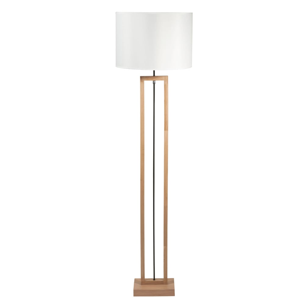 lampadaire en bois et coton blanc h 170 cm long island maisons du monde. Black Bedroom Furniture Sets. Home Design Ideas