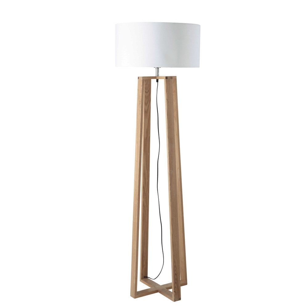 lampadaire en bois et coton h 160 cm iceberg maisons du monde. Black Bedroom Furniture Sets. Home Design Ideas