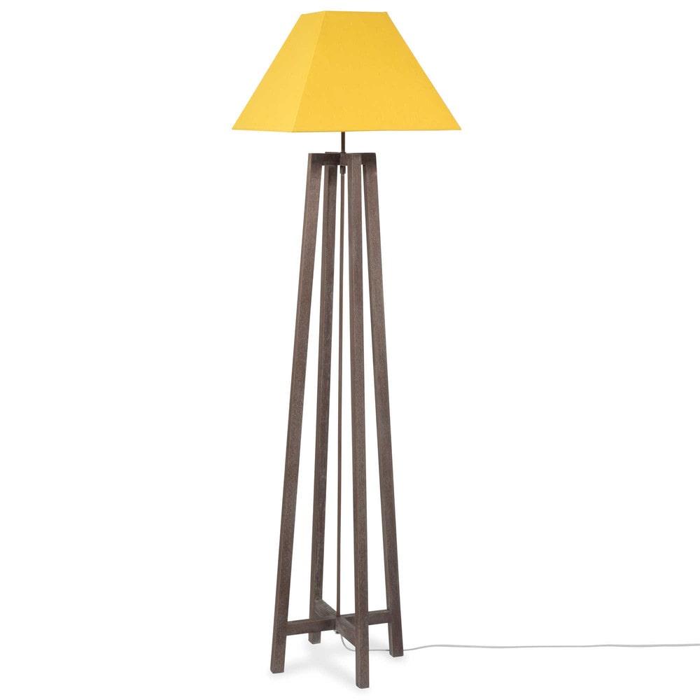 Lampadaire en bois et tissu jaune h 155 cm urban square - Lampadaire bois maison du monde ...