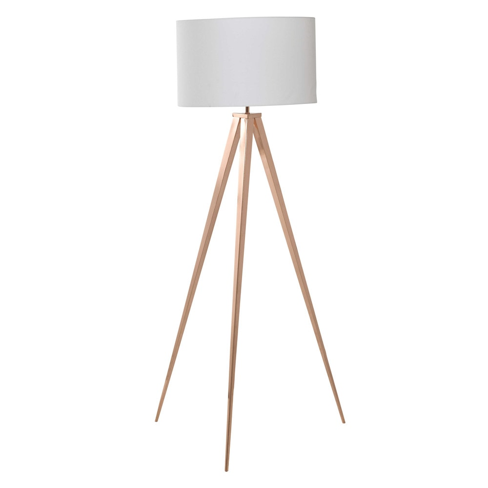 lampadaire en m tal cuivr et coton blanc h 156 cm cooper. Black Bedroom Furniture Sets. Home Design Ideas