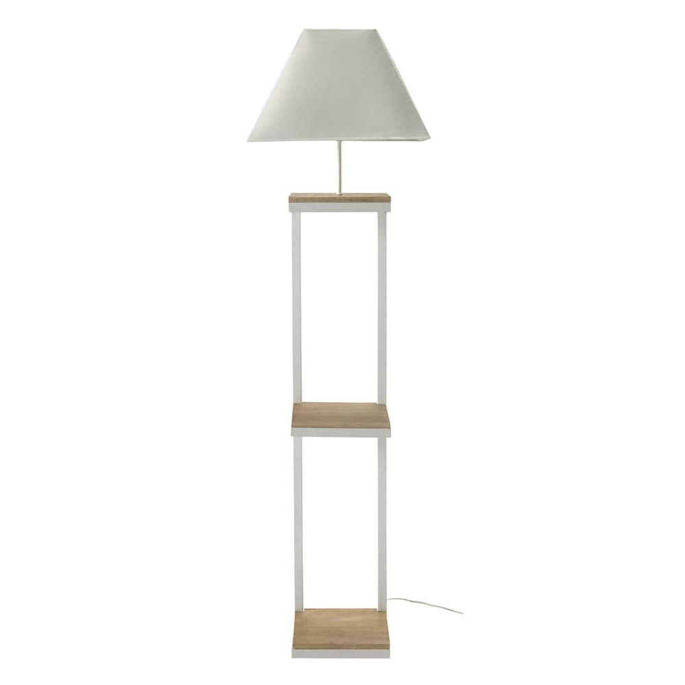 lampadaire en m tal et coton blanc h 158 cm kenneth maisons du monde. Black Bedroom Furniture Sets. Home Design Ideas