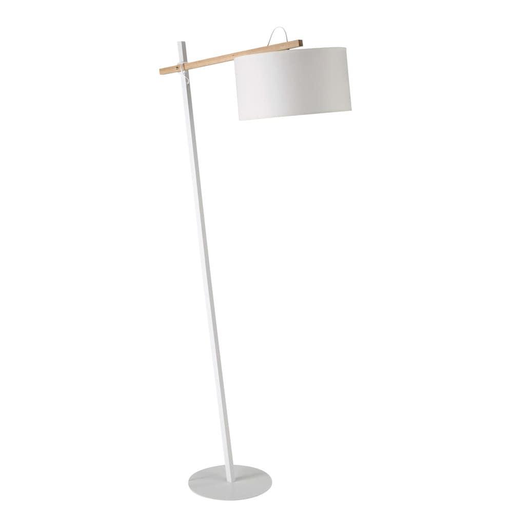 lampadaire en m tal et coton blanc h 170 cm klara. Black Bedroom Furniture Sets. Home Design Ideas