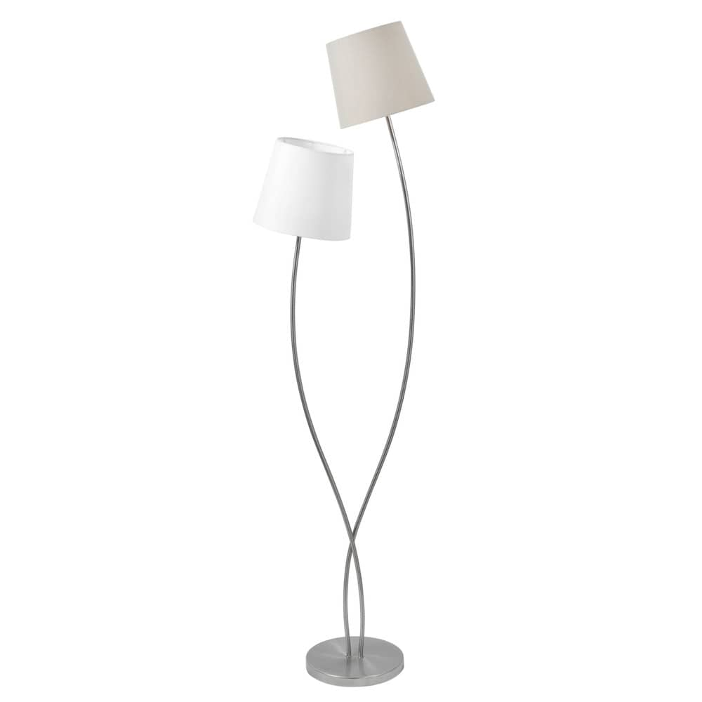 lampadaire en m tal et tissu blanc h 160 cm duo maisons du monde. Black Bedroom Furniture Sets. Home Design Ideas