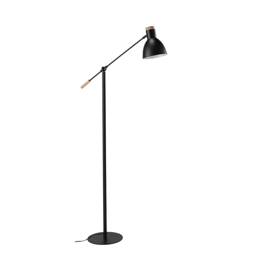 lampadaire orientable en m tal et bois noir h 151 cm street maisons du monde. Black Bedroom Furniture Sets. Home Design Ideas