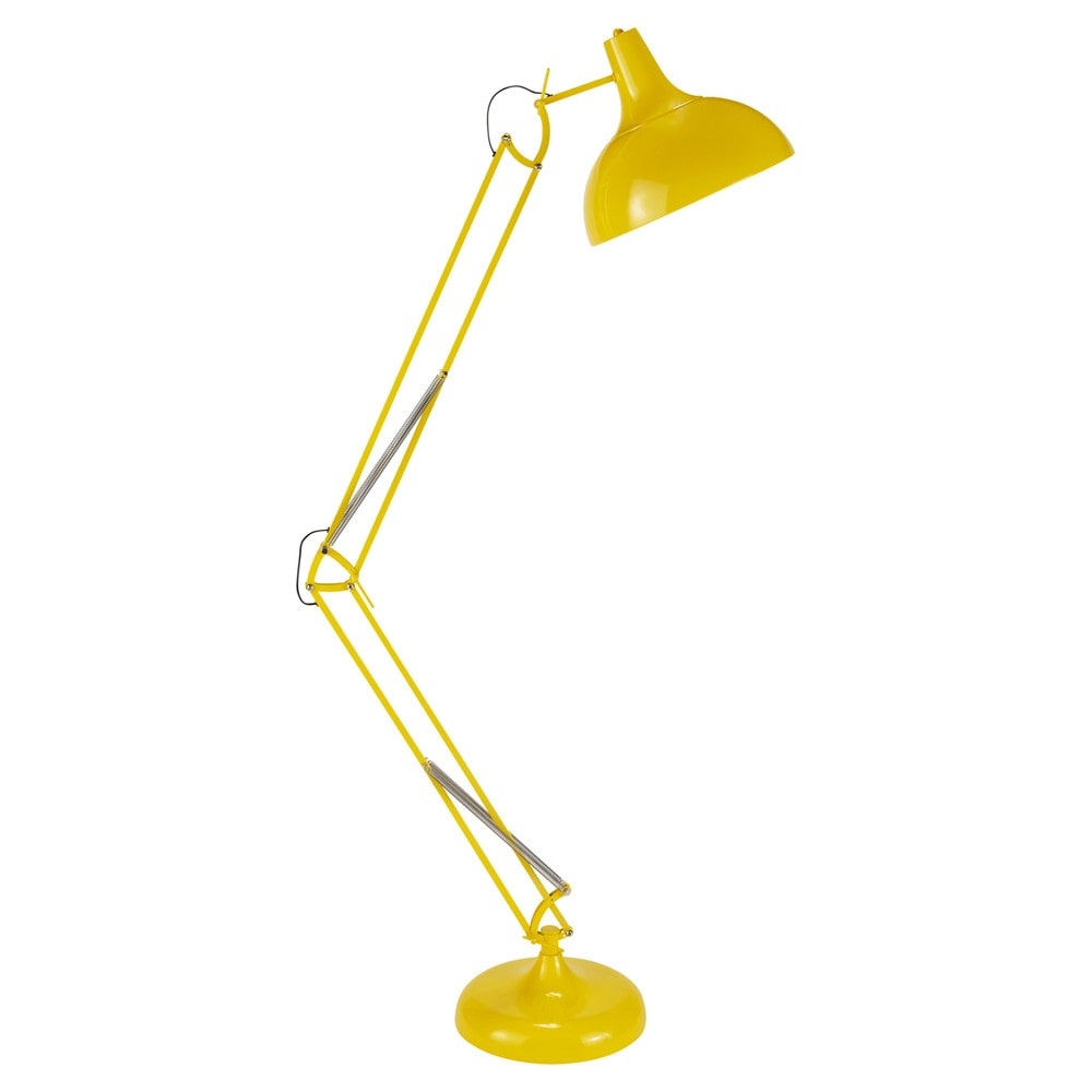 lampadaire orientable en m tal jaune h 180 cm disco. Black Bedroom Furniture Sets. Home Design Ideas