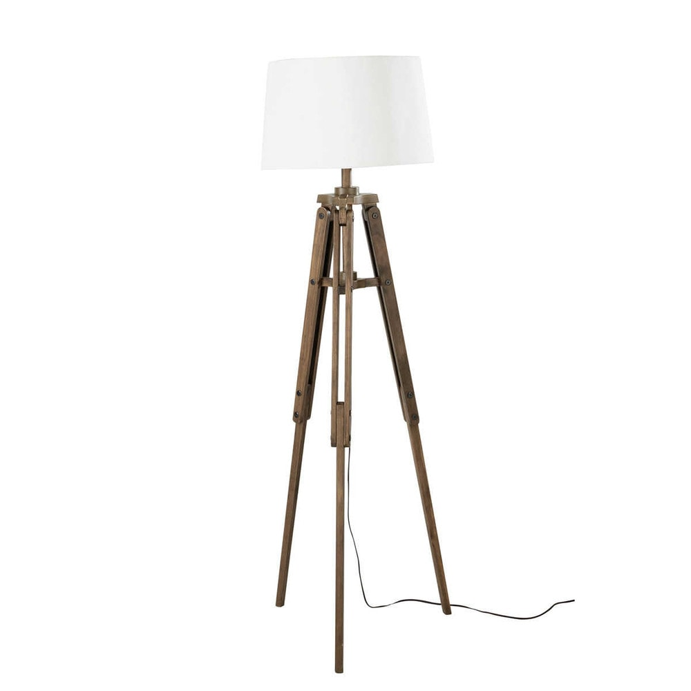 lampadaire tr pied en bois et coton h 158 cm matelot maisons du monde. Black Bedroom Furniture Sets. Home Design Ideas