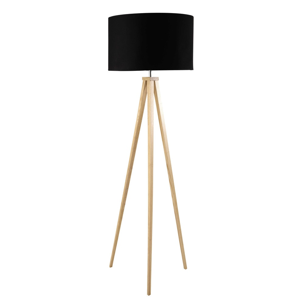 lampadaire tr pied en bois et coton noir h 156 cm karlsen maisons du monde. Black Bedroom Furniture Sets. Home Design Ideas