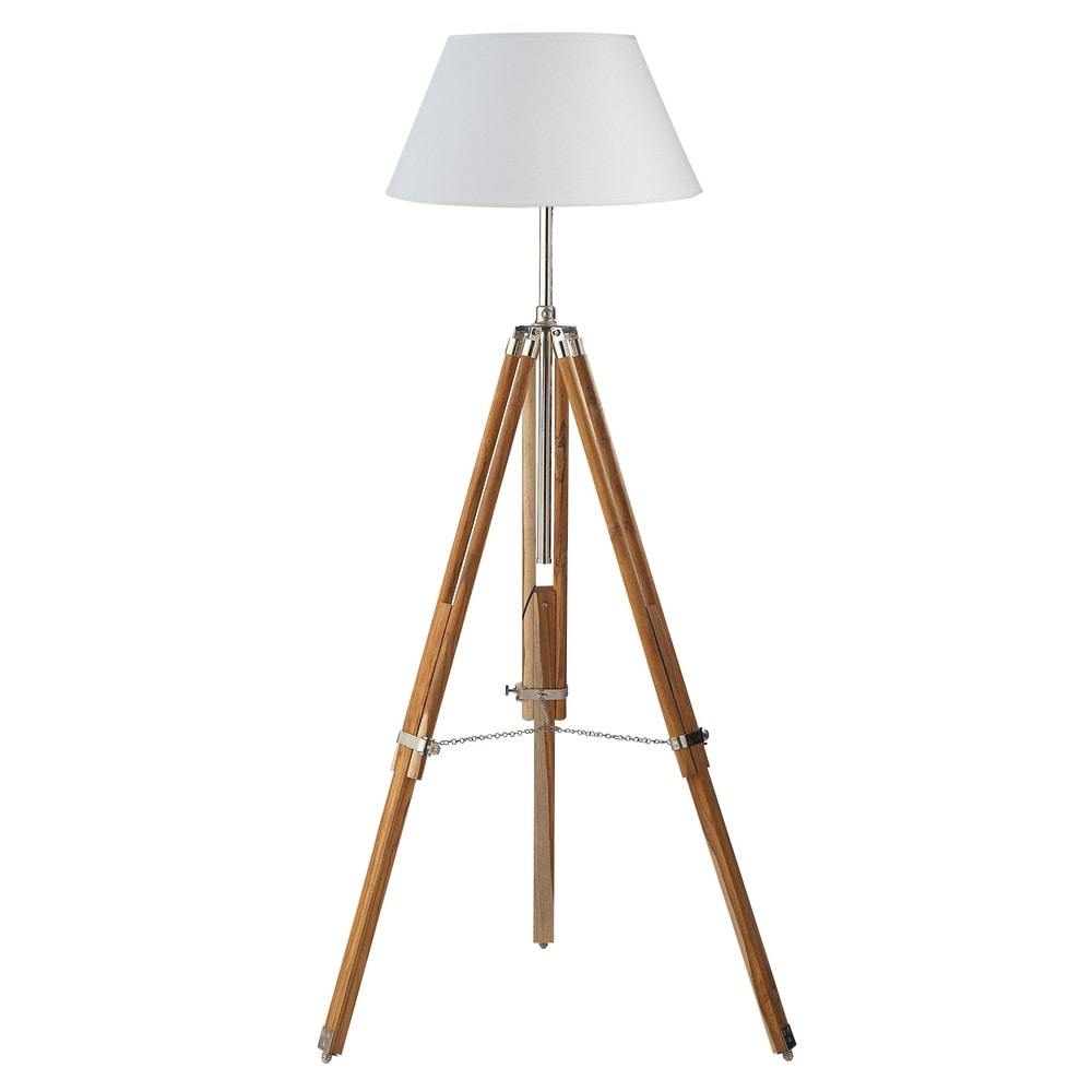 lampadaire tr pied en bois et tissu blanc h 155 cm maisons du monde. Black Bedroom Furniture Sets. Home Design Ideas
