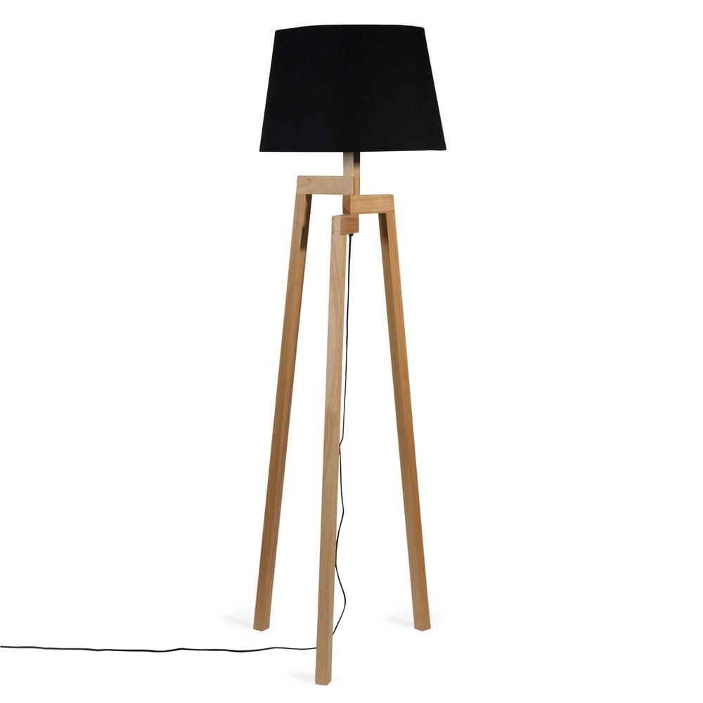 Lampadaire tr pied en bois et tissu noir h 150 cm - Lampadaire bois maison du monde ...