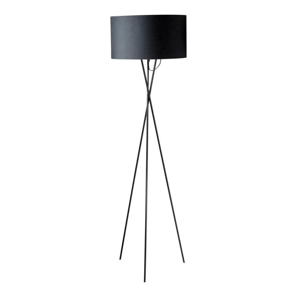 lampadaire tr pied en m tal et coton noir h 154 cm carla. Black Bedroom Furniture Sets. Home Design Ideas