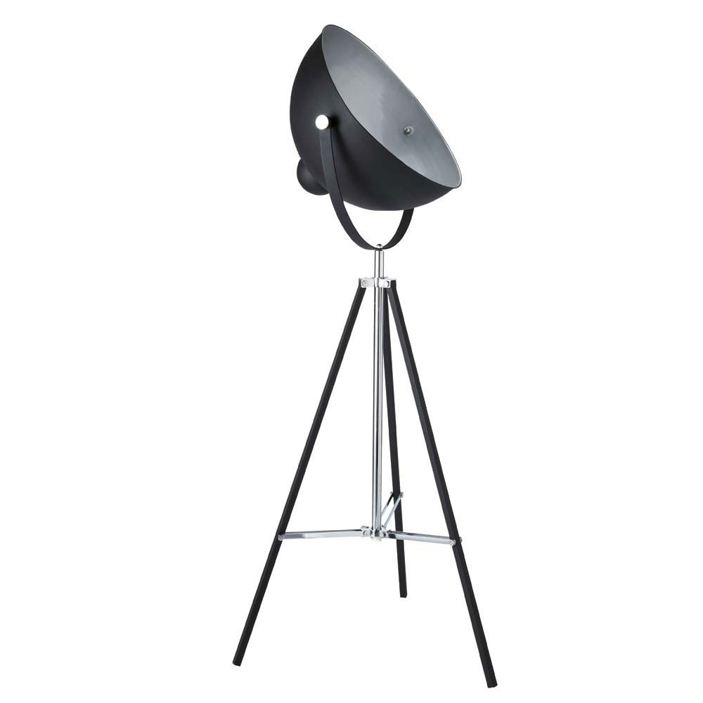Lampadaire tr pied en m tal noir h 145 cm photographe maisons du monde - Lampe industrielle maison du monde ...