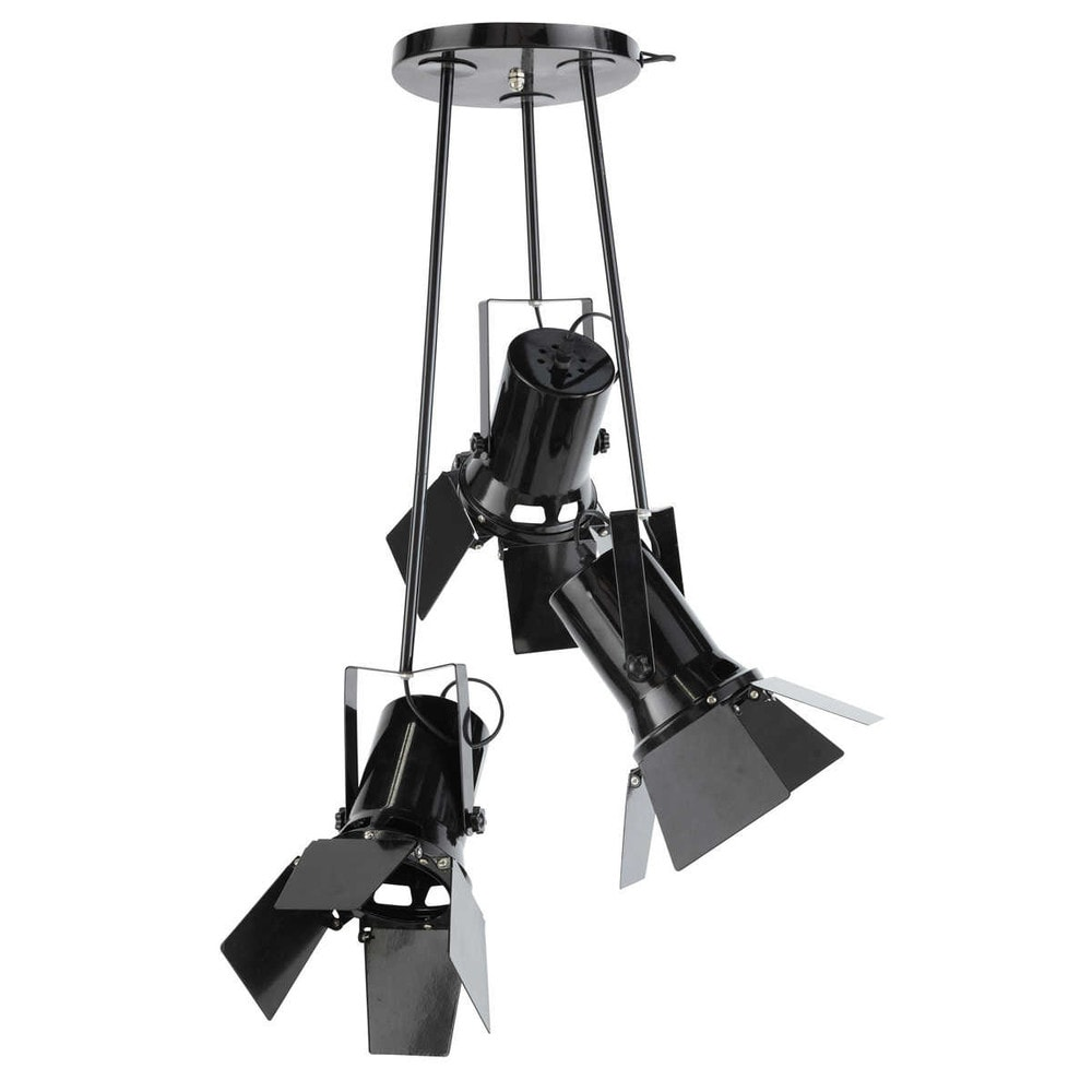 Lampadario nero 3 faretti in metallo D 40 cm MAKING OF Maisons du ...