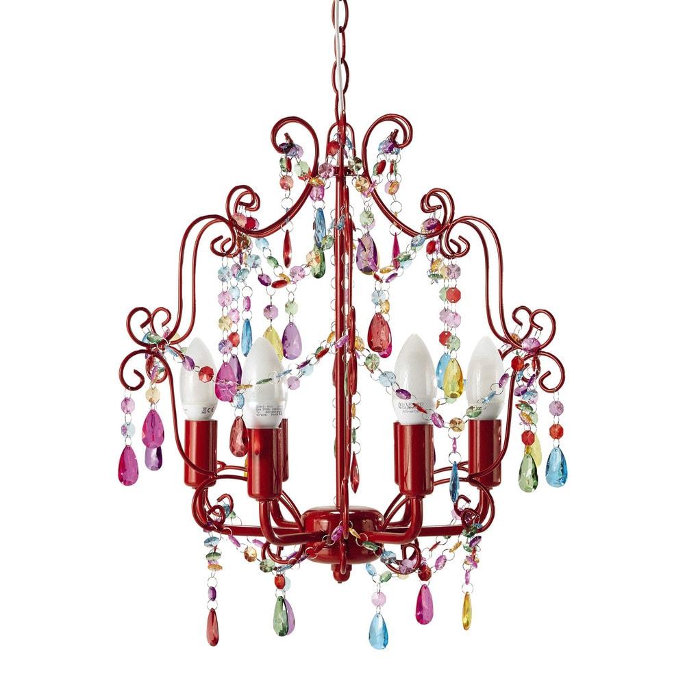 Lampadario rosso in metallo con pendenti d 37 cm bahia for Lampadari pendenti