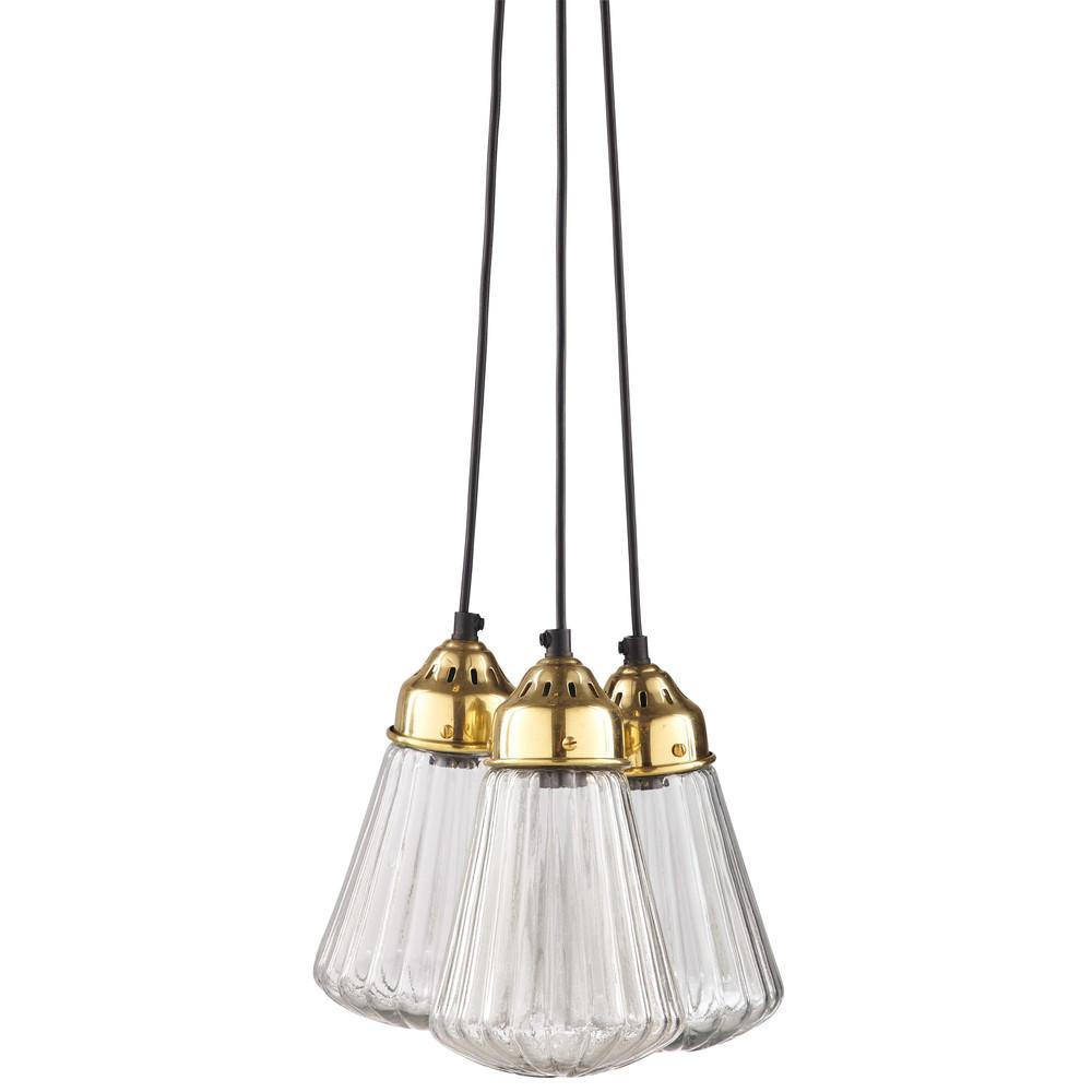 lampade a sospensione 3 lampadine in vetro e metallo dorato marguerite maisons du monde. Black Bedroom Furniture Sets. Home Design Ideas