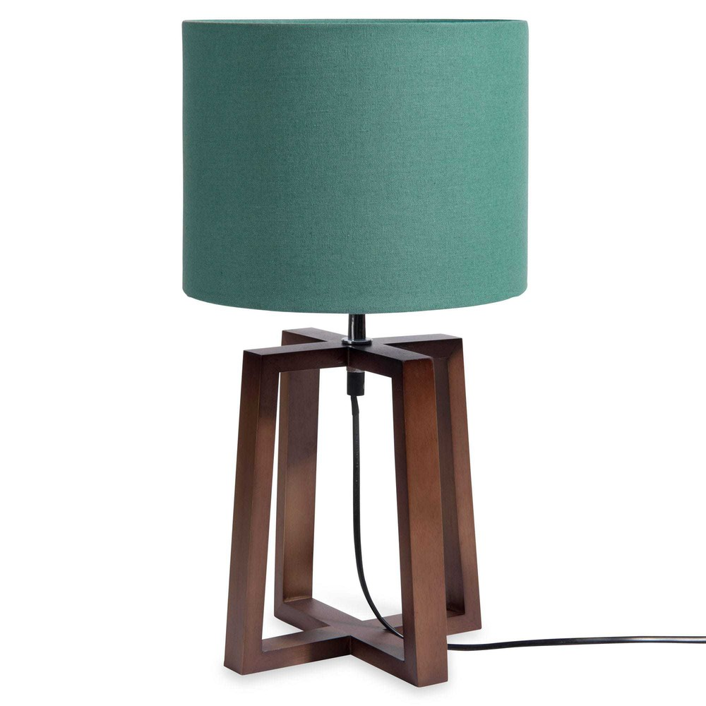 L mpara de madera con pantalla verde alt 44 cm mahogany for Lamparas de mesa maison du monde