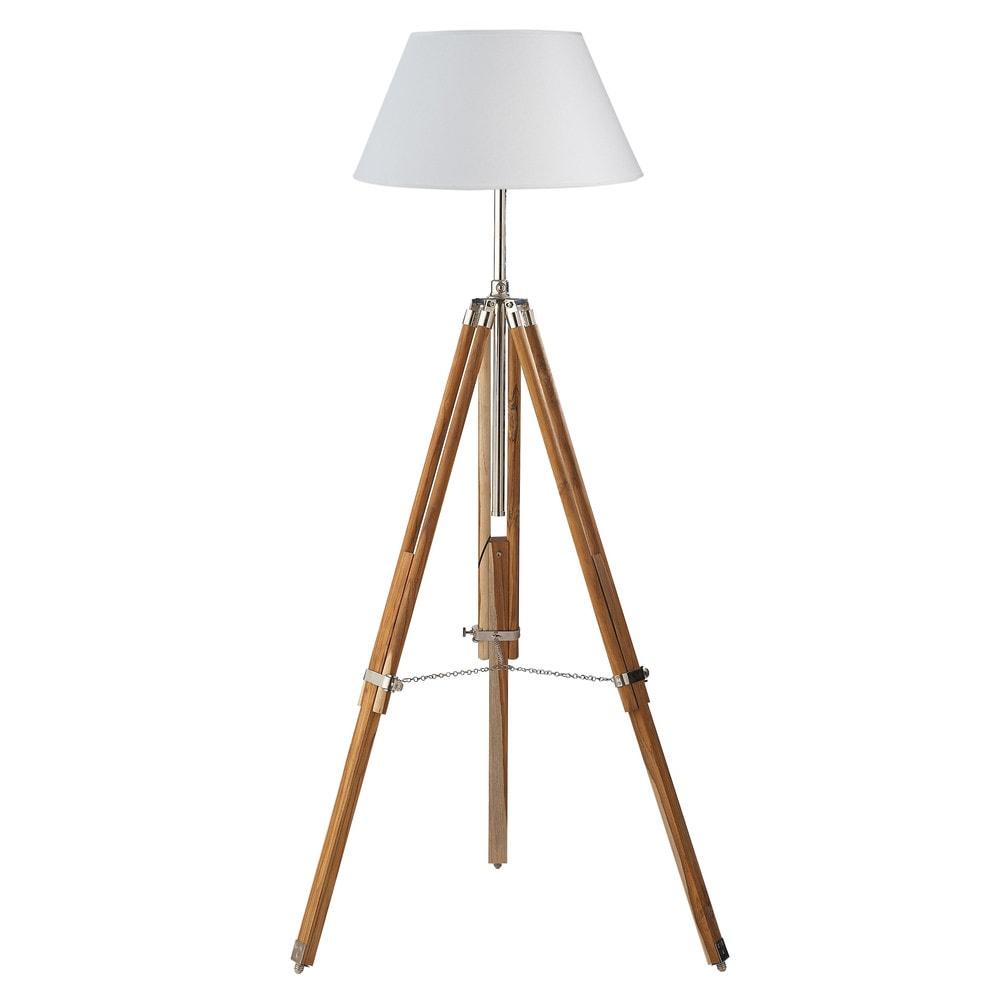 L mpara de pie con tr pode de madera y algod n blanco al for Maison du monde lamparas de mesa