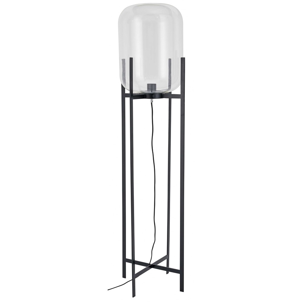 L mpara de pie de cristal y metal negro cm - Maison du monde lamparas de mesa ...