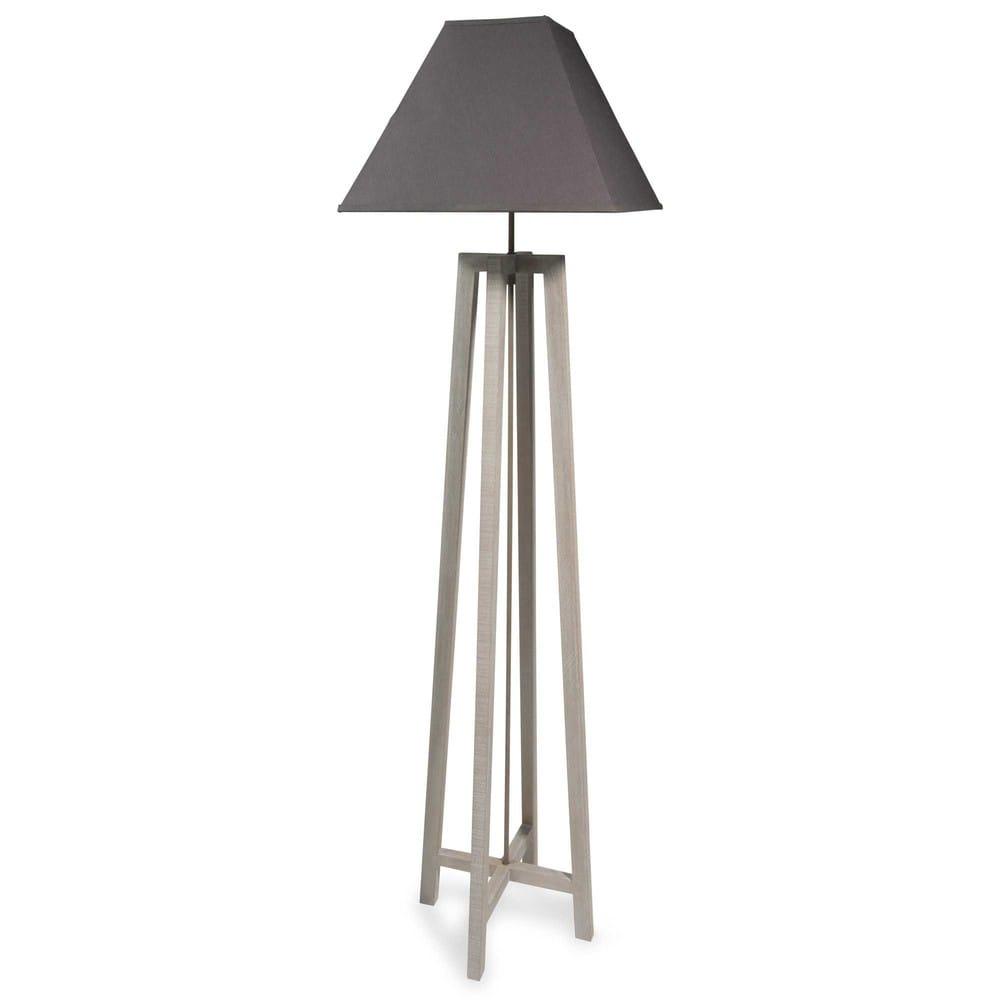 L mpara de pie de madera con pantalla gris h 155 cm square - Lamparas de pie maison du monde ...