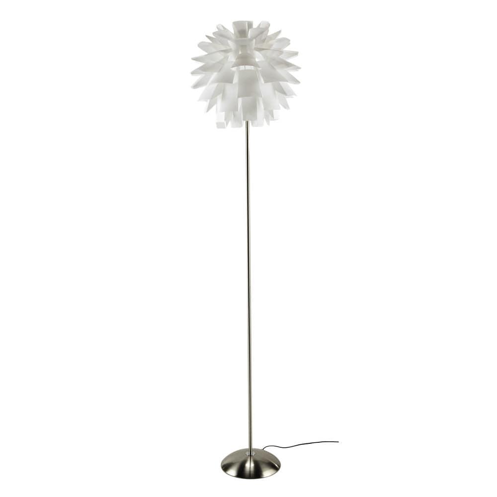 L mpara de pie de metal blanca al 180 cm genova maisons for Maison du monde lamparas de mesa