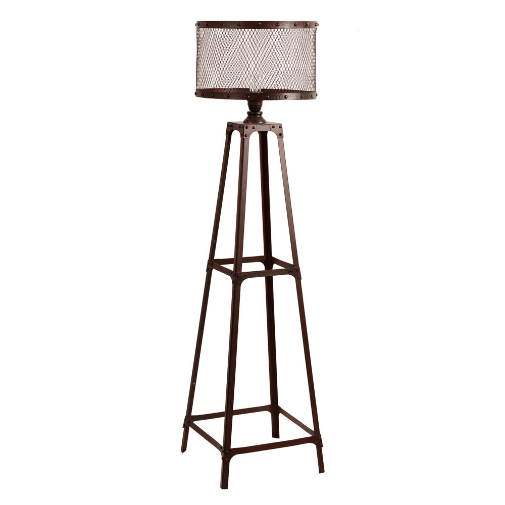 L mpara de pie loft de metal marr n 137 cm louis maisons - Lamparas de pie maison du monde ...